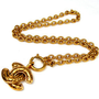 Auth CHANEL Vintage Gold Tone CoCo Logos Pendant Top Necklace #9021