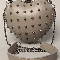 The M E Heart II Studded Clutch Purse in Gray