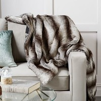 Faux Fur Ombre Throw - Gray