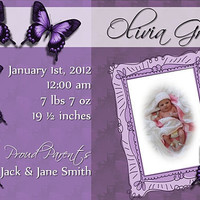 Custom Photo Birth Announcement Baby Girl Purple Butterfly