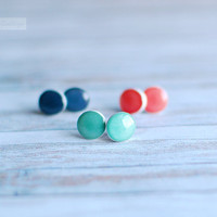 Stud Earrings - three pair of petite round studs in turquoise mint, denim blue,  light coral - everyday jewelry