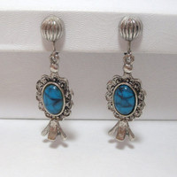 Vintage Earrings screw back silver tone turquoise stone dangle earrings costume jewelry western southwestern style