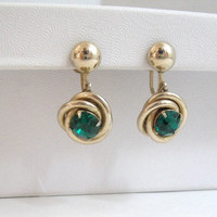 Vintage Earrings Coro screw back gold emerald green stone dangle twist design costume jewelry holiday style