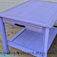 Distressed Purple Nightstand/ Side, End Table