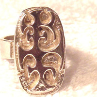 Vintage Sterling Silver 1950's Abstract Statement Ring