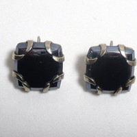 Vintage Clip On Earrings square black gun metal silver costume jewelry deco goth halloween steampunk  style