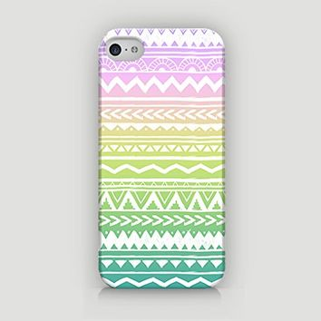 Ombre Aztec Pattern - Ombre Tribal Pattern - Ombre Patten - Hard Plastic Case for iPhone 5/5S - ALL SIDES PRINTED - YouniQ Art's Registered Design