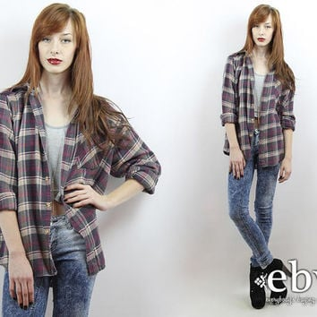 Vintage 90s Plaid Flannel Shirt S M L Oversized Flannel Shirt 90s Grunge Shirt 90s Flannel Shirt 90s Plaid Shirt 90s Flannel Shirt
