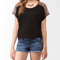 Leopard Print Trim Top