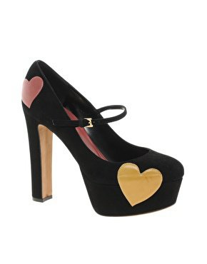 Moschino Cheap and Chic Griselda Heart Print Mary Jane Shoes at asos.com