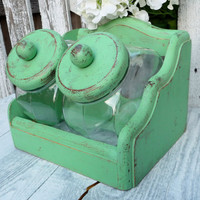Set of Shabby Chic Distressed Counter Jars with Wood Holder