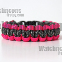 Classic Digital ACU Camo & Neon Pink Paracord Survival Bracelet Hot Pink Band Strap Army Wife