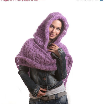 Christmas SALE - Extra Long Mohair Hooded Hand Knit Lace Winter Scarf with Hood by Solandia, Knitting accessories, Women, Christmas Gift