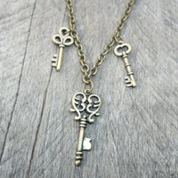 Reserved for K. Seawolf: Steampunk Antiqued Brass 3 Key Drop Pendant on Antiqued Brass Cable Link Chain