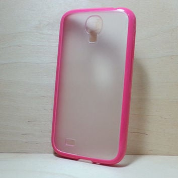 Silicone Bumper and Translucent Frosted Hard Plastic Back Case for Samsung Galaxy S4 - Rose