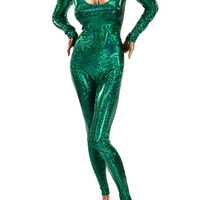 Emerald Green Holographic Shattered Glass Catsuit