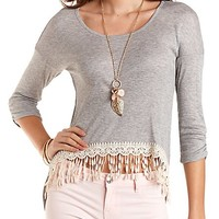 Crochet-Trim High-Low Ribbed Tee by Charlotte Russe - Heather Gray