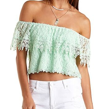 Off-the-Shoulder Lace Crop Top by Charlotte Russe - Pale Mint