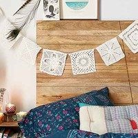 Plum & Bow Lace Doily Banner- White One