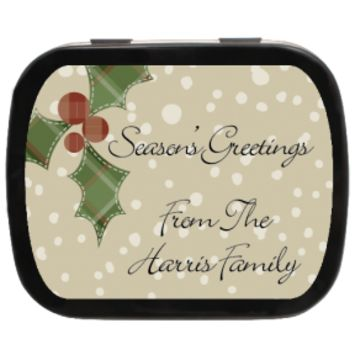 Mistletoe Personalized Christmas Mint Tins, Holiday Ideas, Party Favors, Stocking Stuffers