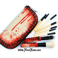 Zombie skin makeup 10 piece brush set