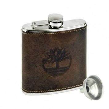 Timberland Brown Leather Covered Flask With Filling Funnel