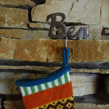 FOR DELIVERY IN 2015: Personalized Christmas Stocking Hook Stocking Hanger- short name