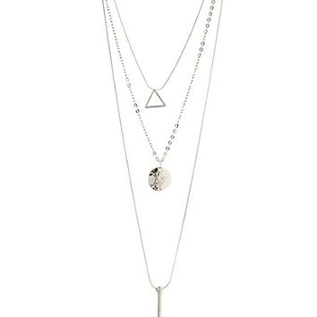 Layered Geometric Necklace by Charlotte Russe - Silver