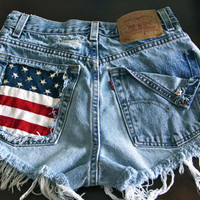 High waist destroy denim shorts super frayed with US flag and studs size Med