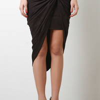 Knotted Twist Suedette Skirt