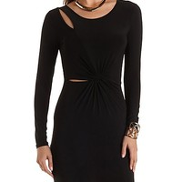 Cut-Out Knotted Long Sleeve Dress by Charlotte Russe - Black