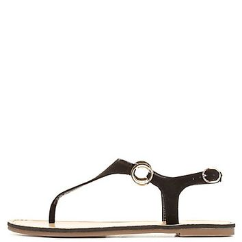 Thong Sandals with Gold Rings by Charlotte Russe - Black