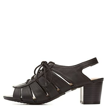 Bamboo Cut-Out Low Heel Lace-Up Sandals by Charlotte Russe - Black