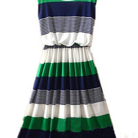 Green Round Neck Sleeveless Striped Mid Waist Dress - Sheinside.com