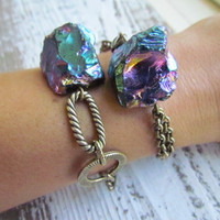 RAINBOW / Raw Quartz Crystal Bracelet - Rainbow Titanium Flame Aura Druzy Gemstone and Chains, Fall, Winter, Fashion