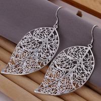 Hollow Leaf Pendant Earrings-Silver - Silver