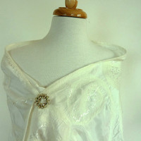 Cream Silk Bridal Wrap. White Silk and Wool Stole. Felt Scarf