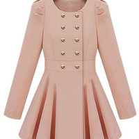 Pink Long Sleeve Double Breasted Flare Hem Slim Trench Coat - Sheinside.com