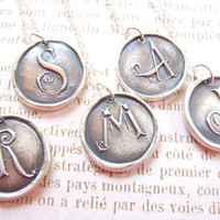 Monogram necklace wax seal pendant personalized initial made from recycled silver in any letter of the alphabet