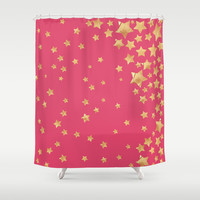 Starry Magic Rose Wine Shower Curtain by Lisa Argyropoulos