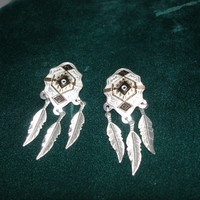 Post Silver Tone and Gold Tone Feathers Earrings