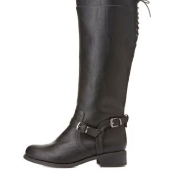 Lace-Up Harnessed Riding Boots by Charlotte Russe - Black