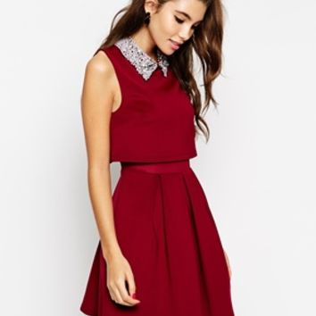 ASOS A-Line Crop Top Dress with Embellished Collar