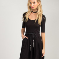 Belted A-Line Dress - Black - Black /