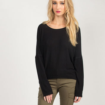 Soft Hi-Low Dolman Long Sleeve Top - Black /