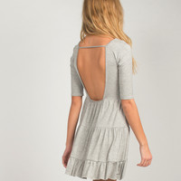 U-Back Babydoll Dress - Gray - Gray /