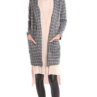 GREY GRID PRINT POCKET COAT