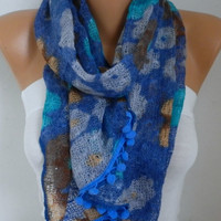 Blue Tones Floral Knitted Scarf Cowl Scarf - Multicolor -Gift Ideas For Her Women's Fashion Accessories