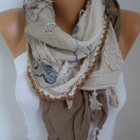 Taupe Ombre Scarf Oversize Scarf Shawl Scarf Cowl Scarf Gift Ideas for Her Women Fashion Accessories Christmas Gift