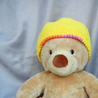 Crochet Cotton Kids Hat Yellow Orange and Pink